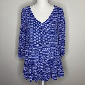 Anthropologie Maeve Blue and White tiered blouse